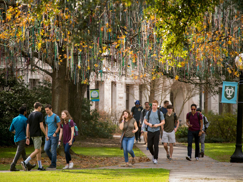 Students walk to classes on campus